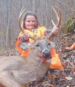 — Kimber Collins, 6, of Premium, harvested this eight-point buck on Nov. 22. She is the daughter of J.R. and Angie Collins. Hunting with her was her Uncle Mike.