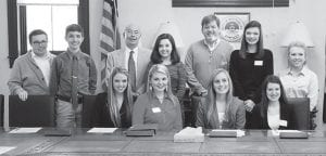 Members of the Appalachian Renaissance Initiative (ARI) Senate Student joined 25 regional elected localities including Whitesburg and Letcher County in passing a resolution of support for President Barack Obama's proposed POWER+ Plan. Pictured are (first row, left to right) Stacie Fugate, Hazard High School; Ashley Benton, Letcher County Central High School; McKenzie Gibson, Jenkins High School; Lindsey Belcher, JHS; (second row) Cameron Wright, Kentucky Valley Educational Cooperative; Jamison Coleman, Belfry High School; Whitesburg Mayor James W. Craft; Taryn Syck, Pike County Central High School; Letcher County Judge/Executive Jim Ward; Kiley Short, LCCS; and Abby Landis, Harlan County Central High School.