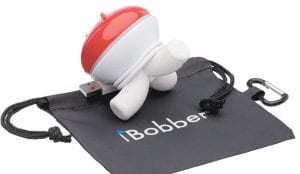 The iBobber fish finder (right) attaches to your fishing line and floats on the surface of the water. Once you cast it, the iBobber can show you where fish are and how big they are. (ReelSonar via AP)
