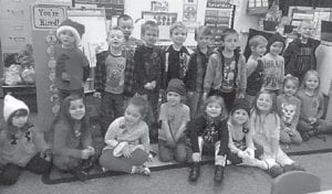 Students in the morning preschool class at West Whitesburg Elementary School taught by Katrina Whisenant model the winter hats and gloves delivered by Shirley Sexton and Grayson Holbrook. Pictured are (front row, left to right) Kyndall Blevins, Lilee Caudill, Kenzie Fields, Dawson Stidham, Isabella Adams, Savannah Isaac, Sophia Mullins, Jaiden Adams, Emilee Stiles, (back row) Raylen Mullins, Ryder Slone, Mason Sexton, Noah Sturgill, Will Addington, Grant Newsome, Peyton Burke, Landon Fugate, Titus Duty and Hayden Adams.