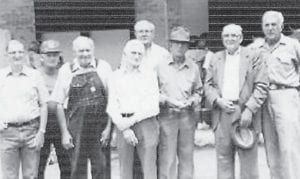 """""""These men were all workers for Marlowe Coal Co. Pictured are Philip Conner, Clyde Hatton, John Brown, Bill Howard, Dan Combs, John Stidham, Frank Necessary, and Eli Banks,"""" said Whitesburg correspondent Oma Hatton. """"All are deceased except Dan Combs. They were all good friends. I thought their families would like to see this."""""""