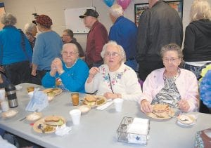 Betty Hatton, Jo Ann Walters and Genny Caudill ate lunch in the Letcher County Senior Citizens room at the Letcher County Recreation Center. Monday was the first day of the senior citizens program being at its new location in the rec center.