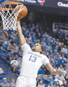 Kentucky's Isaiah Briscoe dunked during the first half of UK's win over Mississippi State Tuesday night in Lexington. (AP Photo)