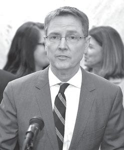 Lexington Mayor Jim Gray addressed reporters after filing to run for the U.S. Senate as a Democrat on Tuesday, declaring his candidacy to unseat Sen. Rand Paul, R-Ky., on the day of Kentucky's filing deadline at the Kentucky State Capitol in Frankfort. (AP Photo)