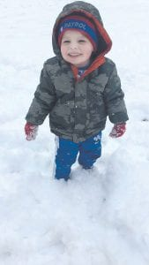 Two-year-old Andrew Miller was all smiles while he played outside in the snow on January 23. Andrew is the son of Tim and Susan Miller of Whitesburg. He is the grandson of Tick and Diane Lewis of Whitesburg and Jessie Miller of Jenkins and the late Yvonne Miller.