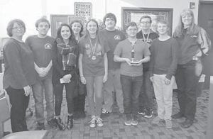 The Letcher Country Central High School academic team placed third in overall for Regional Governors Cup Competition on Feb. 20 at Estill County High School. Three students will advance to state in individual competitions. Treston Hughes, a junior, was third in science; freshman Elle Eldridge finished second in language arts; and Katie Braswell, a sophomore, was fourth in arts and humanities. The Quick Recall team came in fourth and the Future Problem Solving team was third in regional competition. Pictured are (left to right) coach Pam Holbrook, Bryan Epperson, Kirsten Sexton, Katie Braswell, Elle Eldridge, Stamper Collins, Brad Stacy, Treston Hughes, McKenzie Miller and coach Regina Donour.