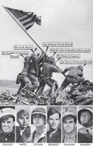 Joe Rosenthal's Pulitzer Prize winning AP photo of the February 23, 1945 flag raising on Mt. Suribachi, Iwo Jima, was originally misidentifi ed by military sources. Originally identified, from left, in this vintage graphic: Pfc. Franklin R. Sousley; Pfc. Ira Hayes; Sgt. Michael Strank; Pharmacist's Mate 2nd Class John H. Bradley; Pfc. Rene A. Gagnon; Sgt. Henry O. Hansen. The Marine at far right was later correctly identified as Cpl. Harlon Block, not Hansen. (AP Photo/ Joe Rosenthal)