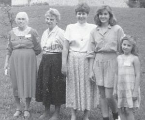 — Pictured at a Cook family reunion about 1988 are the late Susan Cook, the late Hazel Cook Brown, Linda Brown Combs, Regina Combs Crawford Stivers and Christina Crawford.