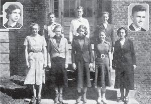 DEBATING CLUB — Pictured are (left to right, front) Helen Pass, Frances Fields, Edith Smith, Irene Hawley, Mrs. Mary Harmon, coach, (back) Mary Catherine Belt, Clyde Flanery, Raymond Hall, Walter Fulton and Robert Preston.