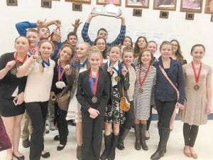 The Whitesburg Middle School speech team recently won medals in nine events at the regional speech competition. Pictured are (front row, left to right) Isabella Thomas, Madison Parsons, Kaci McCown, Gracie Hatton, Rebecca Bailey, Gracie Howard, Kaleigh Adams, Olivia Frazier, Ellie Mullins, Jadeyn Conn, (back row) Matt Craft, Patrick Stewart, Dalton Honeycutt, Steve Burke, Abby Little, Samuel Mullins, Abby Bentley, Ashley Vanover, Jazmin Ramirez, Emma Halcomb and Elexis Craft.
