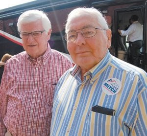 """R.C. Day Jr., right, was photographed with U.S. Rep. Harold """"Hal"""" Rogers during a campaign event for U.S. Senator Mitch McConnell in 2014. Day, who died unexpectedly at age 82 Saturday, served as Whitesburg Postmaster for 20 years after being appointed by President Dwight D. Eisenhower in 1960."""