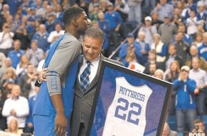 Kentucky Coach John Calipari gave Alex Poythress a huge and well-deserved hug during UK's Senior Day. (Photo by Vicky Graff )