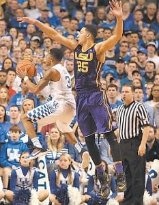 Guard Tyler Ulis scored on LSU's Ben Simmons in UK's win last week. ESPN analyst Dick Vitale said Ulis won him over and calls him and Jamal Murray the best backcourt in the nation. (Photo by Vicky Graff )