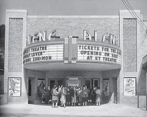 Patrons stand outside Isaac's Alene Theatre in Whitesburg during its grand opening in 1950. The theatre wasn't yet named when construction began 67 years ago, in Spring 1949. The theatre building is now home to Riverside Apartments and Whitesburg Florist.