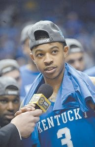 Kentucky guard Tyler Ulis talked to fans in Nashville Sunday after UK won the SEC Tournament title and he was named the tournament's most valuable player. (Photo by Wade Upchurch)