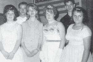 Pictured in 1965 are members of the Kona Grade School's last graduating class. Left to right (front row) are Elizabeth Branham, Peggy Williams, Elaine Phillips, the late Mattie Hart, (back row) Jessie Gibson and Paul Ballou.