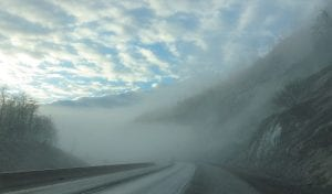 U.S. Highway 119 and Pound Gap near the Kentucky-Virginia state line were enveloped in fog recently when Alton Long was returning from Letcher County to his home in Pottstown, Pennsylvania.