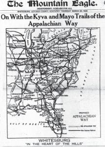 As this graphic taken from the front page of the March 25, 1926 edition of The Mountain Eagle indicates, Letcher County citizens were excited by the prospect of getting a good road through the county that would link the Great Lakes states with the Southern region of the United States.