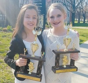 Taking third place in Duo Acting at Kentucky High School Speech League competition were Whitesburg Middle School speech team members Gracie Howard and Gracie Hatton.