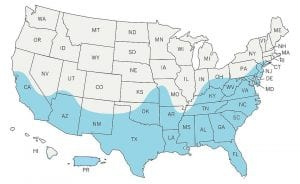 This image made available by the Centers for Disease Control and Prevention shows a map of the United States with an estimated range of the Aedes aegypti mosquito for 2016 indicated in blue. Federal health officials say the mosquitoes, including the Aedes aegypti, that can transmit the Zika virus may live in a broader swath of the U.S. than previously thought — but that doesn't mean they'll cause disease here. (CDC via AP)