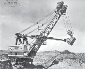 "This image taken from a postcard shows Peabody Coal Company's giant shovel, ""The Big Hog."""
