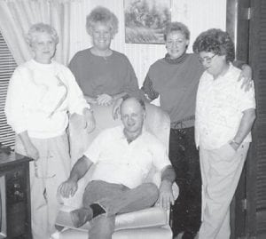 — Pictured is the Bill and Mary Napier family from Marlowe. From left to right are Laura Napier Holland, Margaret Hatton Combs, Alicia Napier Staley (Virgil's daughter) and the late Norma Napier (Burchel's wife). Seated is Ernie Napier, the son of Norma and Burchel Napier.