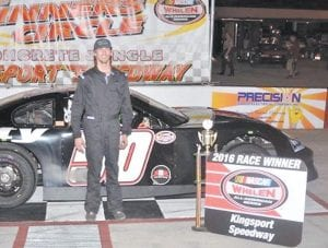 Zeke Shell captured his first win of the 2016 season at Kingsport Speedway on April 29. Shell will try to get another trophy when he competes in the 60-lap late model feature race this Friday night (May 13).