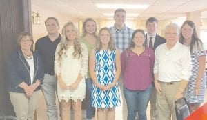 Letcher County Central and Jenkins high school seniors are vying for $1,000 Work Ethic Scholarships from the Letcher County Chamber of Commerce. Pictured are (front row, left to right) Chamber Secretary/Treasurer Brenda DePriest, McKenzie Gibson (JHS), Emily Johnson (LCCHS), Keona Reynolds (LCCHS), Chamber President Joe DePriest, (back row) Ted Allen (JHS), Ashley Benton (LCCHS), Charles Maggard (LCCHS) and Dylan Caudill (LCCHS). The recipients of the scholarships will be announced on Awards Day at both schools.