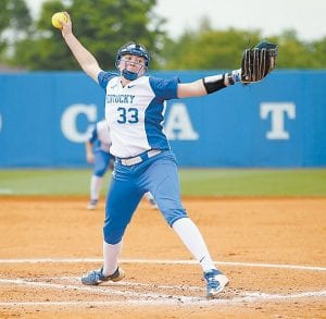 Pitcher Kelsey Nunley has a school-record 91 career wins going into NCAA Tournament play. She is an honor student with a double major in communications and community and leadership development. (UK Athletics)