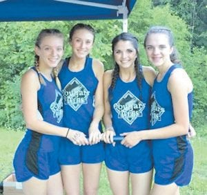 This picture shows the 4x800 team that will be going to state. The first one left to right is Ally Damron, Kacey Troutt, Marlee Baker, and Sam Crawford.