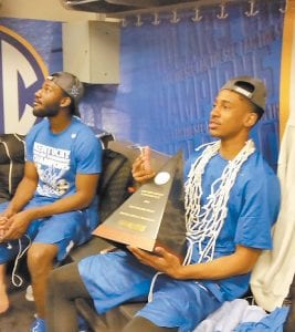 Charles Matthews had the net around his neck and SEC Tournament championship trophy in his lap after UK's win over Texas A&M in March. Now he's decided to leave Kentucky. (Photo by Larry Vaught)
