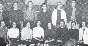 The Yellowjacket staff members are (left to right, front row) Pauline Collier, Jackie Walker, Delma Gilley, Wanda Collins, Maurleen Collier, Linda Adams, Barbara Adams, Ida C. Wright, (back row) Sammy Kiser, Rocky Davis, Redgie Tyree, John Howard, Tim Adams and Billy Stout.
