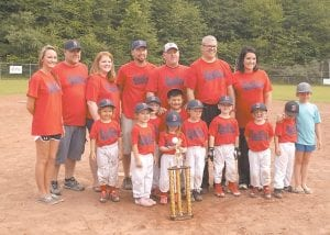 The Fleming-Neon Little League Red Sox won the 2016 league Tee-Ball Championship last week, repeating as champs after also winning the 2015 crown. The team is coached by Mark and Ellena Wright and is sponsored by Letcher County Farm Bureau Insurance Agency. Pictured left to right, front row, are: A.J. Brown, Myla Swindall, Chloe Wright, Allison Anderson, Axdun Noble, Eli Phillips, Christopher Anderson Jr., Brantley Thompson, Drew Richardson and Sarah Richardson, who was on last year's championship team. Pictured left to right, back row, are parents/coaches Lindsey Gibson, Chris Anderson, Debbie Anderson, Joe Phillips, John Michael Richardson, Mark Wright and Ellena Wright. Not pictured is first-year Red Sox player Zoey Billiter, who could not play because of illness. The Red Sox played in honor of Zoey throughout the season.