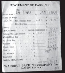 Elva Pridemore Marshall provided the following Statement of Earnings that were provided to her father, Hiram Pridemore, when he worked for Wardrup's Packing Company Inc. at Letcher in 1958.