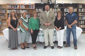 New Jenkins Independent Schools Superintendent Mike Genton (fourth from left) met with board members Sarah Tackett Brown, Paulette Sexton, Brenda DePriest, Eileen Sanders, and chairman Tracy Goff