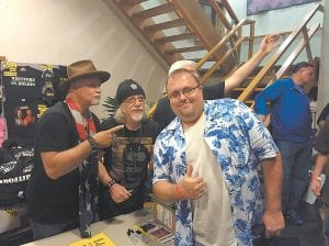 """BIRTHDAY PRESENT FOR AEROSMITH FAN — Summer 2016 got off to a great start for Jeremy Patrick, who celebrated his birthday by attending a recent concert in Whitesburg that featured Aerosmith guitarist Brad Whitford (second from left) and former Ted Nugent Band lead vocalist Derek St. Holmes, who brought their tour to Appalshop Theater in support of their new Whitford/St. Holmes album """"Reunion."""" Patrick, of Knott County, says he has been an Aerosmith fan for most of his life. Whitford and St. Holmes both praised Whitesburg and Appalshop Theater which, according to Whitford, """"sounds better than a studio."""" The two rockers and the members of their band also enjoyed fried chicken from """"Joe's"""" at Isom."""