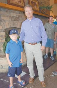 — Six-year-old Houston Patterson posed with U.S. Senator Rand Paul during Paul's official visit to Whitesburg on Tuesday afternoon. Houston is the son of Christi Lee and Adam Patterson of Whitesburg.