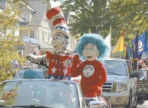 Cat in the Hat in parade with Thing 2. (AP Photo)