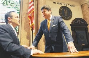 """Kentucky Governor Matt Bevin (left) talks with House Leader Greg Stumbo. """"We're going to run against Matt Bevin,"""" Stumbo says of the Democrat's strategy for holding onto the state House of Representatives in the November election. """"We're going to make this a referendum about Matt Bevin."""" (Courtesy Legislative Research Commission)"""