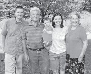 — Pictured are four generations of the Hatton family, (left to right) Dr. Kevin Hatton, Robert Hatton, baby Elise Hill, Rockie Hill and Oma Hatton. Baby Elise is now seven years old and has a brother, Daniel, 4.