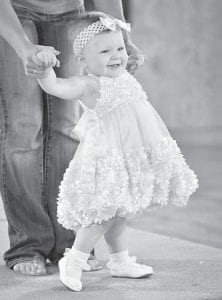 Eleven-month-old Mya Wells was first runner-up in the Montgomery County Fair Pageant. She is the daughter of Felicia Bergh and Kenneth Wells, granddaughter of Vicki Adams and Arthur Bergh, and great-granddaughter of Fred and Caldonia Adams. She was sponsored in the pageant by Kentucky Car Exchange in Mt. Sterling.
