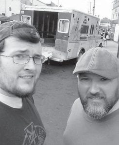 — Charles Henry Hicks and son Brandon Hicks, 20, of Georgetown, attended the Walking Dead Day in Cynthiana on August 6. Charles Hicks is the son of Cathy and Charles Ronald Hicks of Mayking, and Brandon Hicks is their grandson.