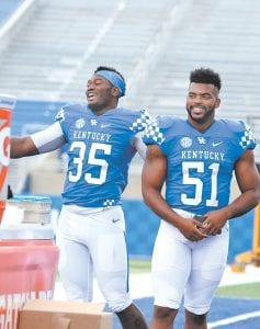 Denzil Ware, left, and Courtney Love could be two big playmakers for the UK defense this season. (Photo by Olivia Prewitt)