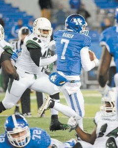 """Quarterback Drew Barker says players have """"learned to work as a team"""" and are more united this season. (Vicky Graff Photo)"""