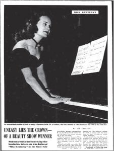 Seen above is the first of a two-page magazine spread about Madonna Smith that appeared in the Sunday, September 1, 1946 edition of The Courier-Journal of Louisville.