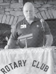 Tommy Dingus, an employee of Wings Air Rescue, spoke at the Aug. 6 meeting of the Rotary Club of Whitesburg.