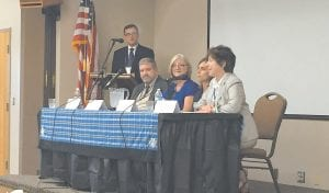 Participating in the forum were, from left, Mike Caudill, Fran Feltner, Dawn Brewer, and Linda Birnbaum.