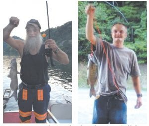 """FISHING BUDDIES — These snapshots show columnist Greg """"Gabby"""" Caudill, left, and fishing buddy Frank Simpkins with the nice catfish and bass they caught recently while fishing along the shoreline at Carr Creek Lake."""