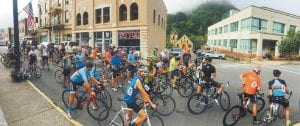 Racers lined up in downtown Whitesburg last month as the 37-mile race Pine Mountain Summit Challenge was ready to start. Next year's race is already being planned.