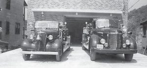The department's two trucks were parked in front of Whitesburg City Hall shortly after it opened in 1947. The city, fire department and police department shared the space.